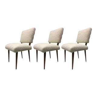 Jean Royere Ash Rare Set of Three Chairs Covered in Wool Faux Fur For Sale