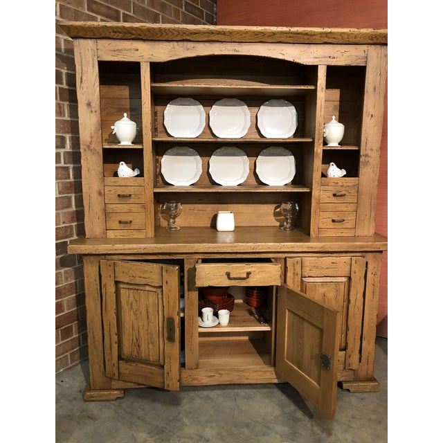 New Solid Oak Buffet. Made in Italy, outside Venice, by Conarte. 2-piece item, consisting of sideboard and hutch. No any...