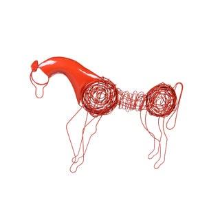 Mid-Century Modern Red Wire Horse Sculpture