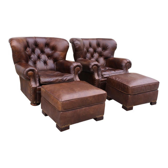 Restoration Hardware Club Chairs & Ottomans - A Pair - Image 1 of 11
