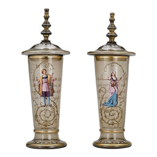 Pair of Moser Bohemian Glass Pokals For Sale