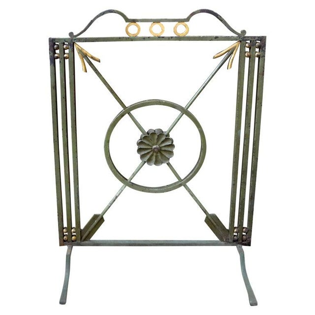 Green French Art Deco Neoclassical Style Wrought Iron Fireplace Screen With Arrows, Circa. 1930 For Sale - Image 8 of 9