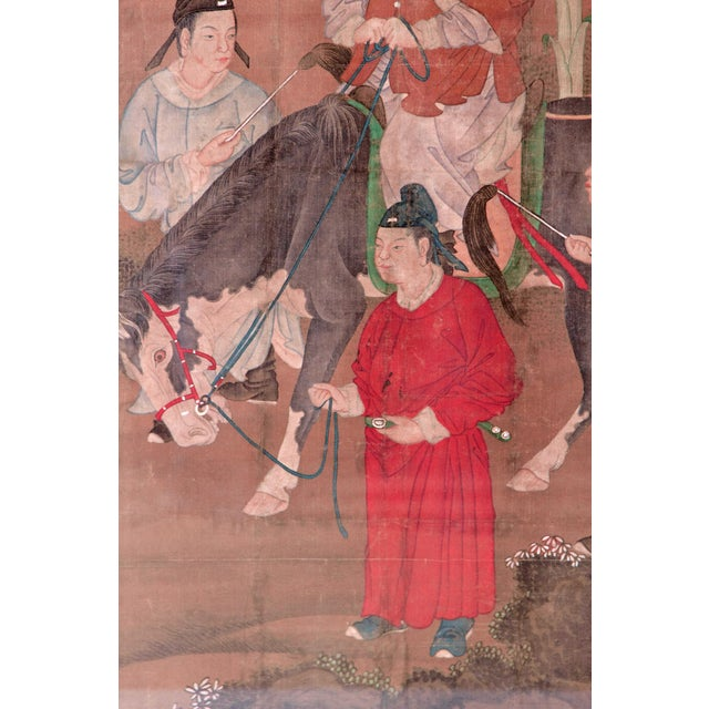 Chinese Scroll Painting of a Dignitary on Horseback For Sale - Image 4 of 11