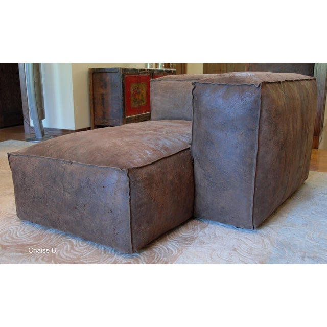Chocolate Modern Restoration Hardware Distressed Leather Sectional For Sale - Image 8 of 11