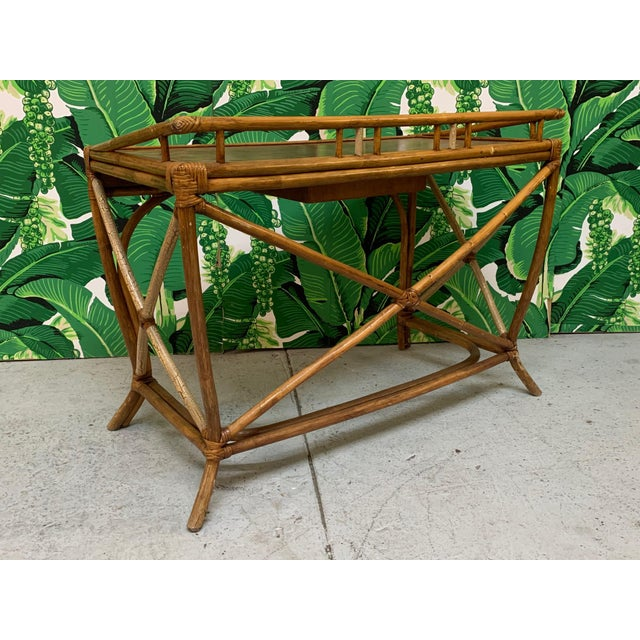 Brown Mid Century Bamboo Desk and Chair For Sale - Image 8 of 13