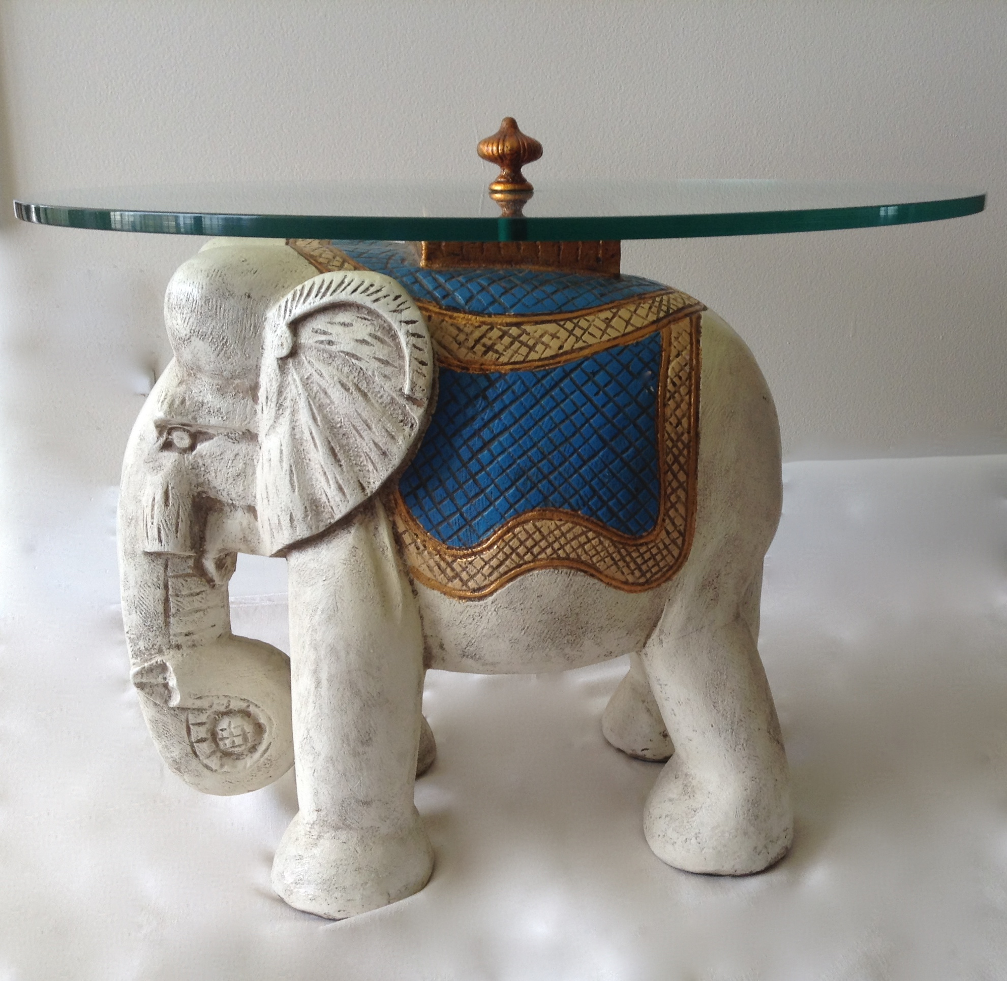 Boho Chic Hollywood Regency 1940s Elephant Glass Top Table For Sale   Image  3 Of 11