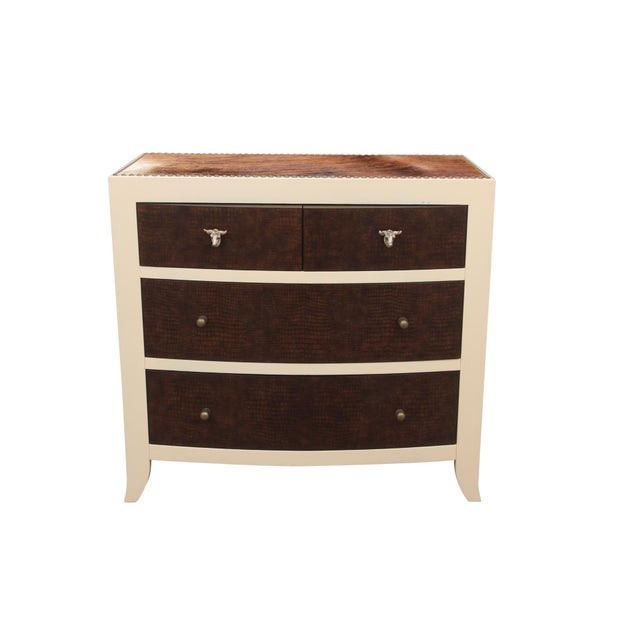 Bernhardt faux gator and cowhide chest of drawers. The frame is newly lacquered in Benjamin Moore's Cream with top and...