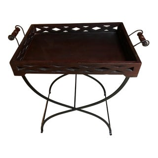 Wood Butler's Tray on a Folding Iron Stand For Sale