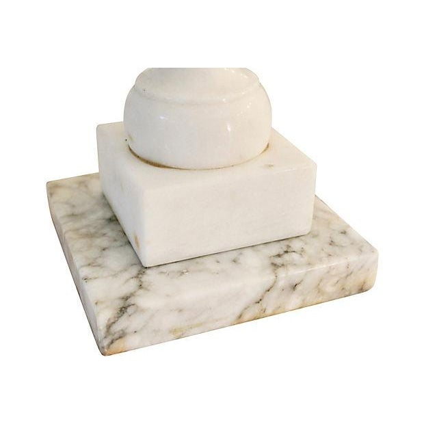 White Neoclassical Carved Marble Lamps - A Pair For Sale - Image 8 of 8