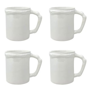 Bamboo Mug in White, Set of 4 For Sale