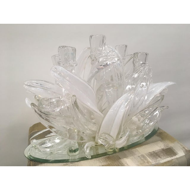 Large, outstanding Murano glass candelabra. This gorgeous piece of art is clear and white, Stunning! The photos do not...