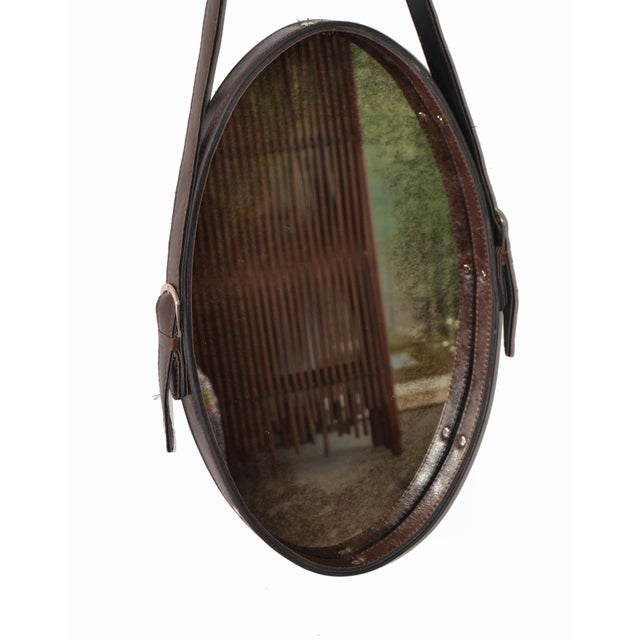 Jacques Adnet Style 1950s Hand-Crafted Brown Leather & Antique Glass Wall Mirror - a Pair For Sale In Miami - Image 6 of 13