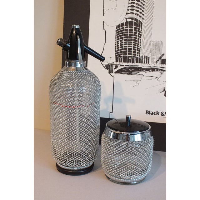 Vintage Wire Mesh Siphon Bottle & Ice Bucket -Pair - Image 4 of 11