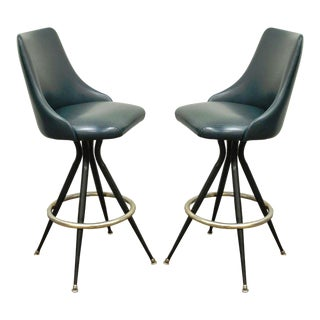 Mts Retro Chrome Vinyl Swivel Bar Stools - A Pair