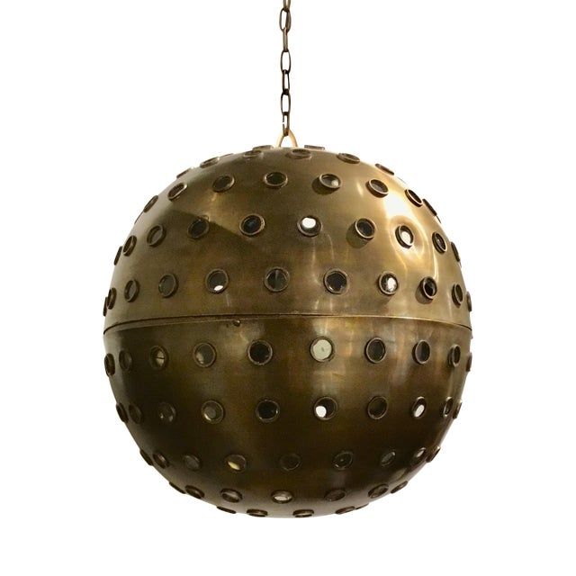 Currey & Co. Modern Brass and Glass Orb Pendant Prototype For Sale