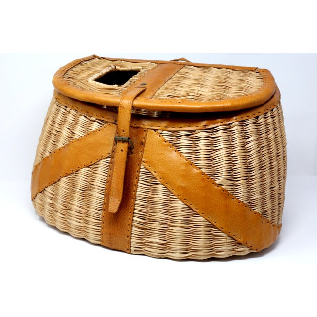 Vintage Leather and Wicker Fly Fishing Basket For Sale - Image 12 of 12