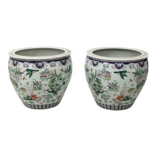 Chinese Ceramic Fish Bowls - a Pair For Sale