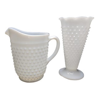 Mid 20th Century Vintage Hobnail Milk Glass Vase and Pitcher Depression Glass - a Pair For Sale