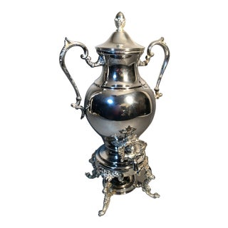 Vintage Ornate Repousse Footed Silver Plate Coffee Urn Samovar W/Burner For Sale