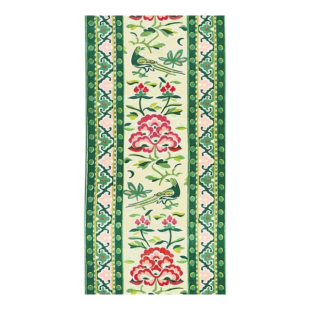 Scalamandre Royal Peony Linen Print, Spring Green Fabric For Sale