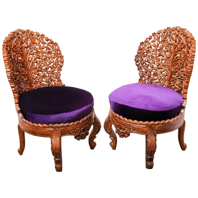 Anglo-Raj Carved Wood Side Lounge Chairs - a Pair For Sale - Image 13 of 13