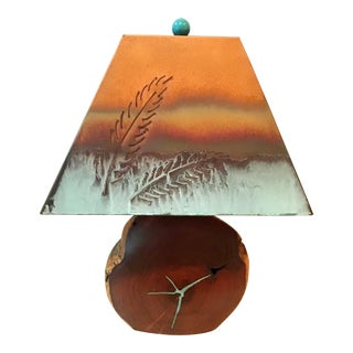 Natural Wood Turquoise Inlaid Lamp & Cut Copper Patinated Metal Shade For Sale