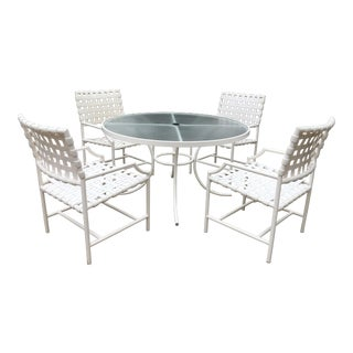 Mid-Century Inspired Outdoor Dining Table and 4 For Sale