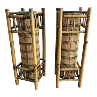 1970s Boho Chic Tall Bamboo Tiki Table Lamps - a Pair For Sale