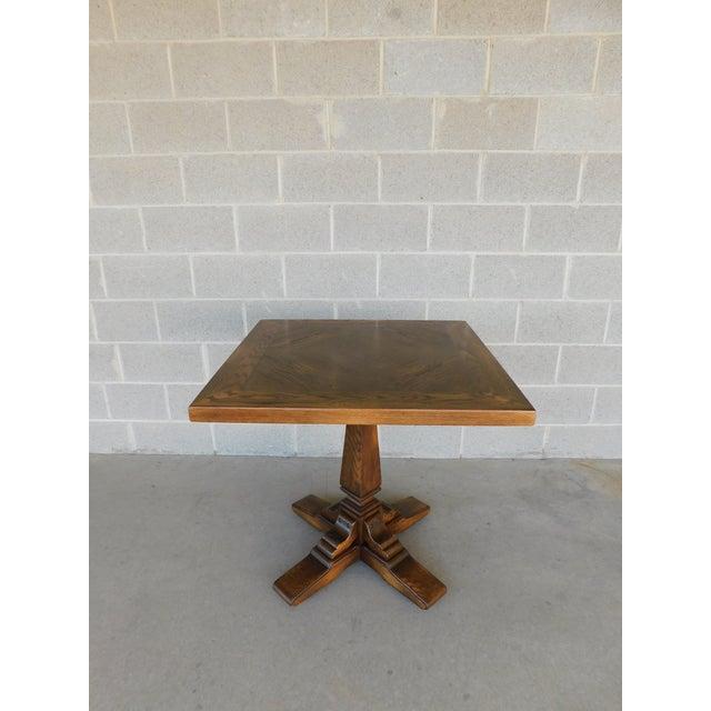 Romweber Viking Oak Pedestal Game or Dinner Table 32 X 32 For Sale - Image 9 of 9