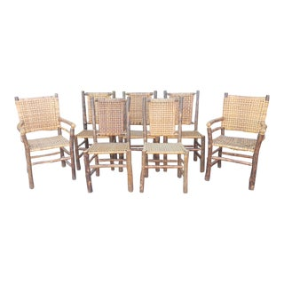 Set 7 Vintage 1980s Old Hickory Rustic Log Dining Room Tavern Chairs For Sale