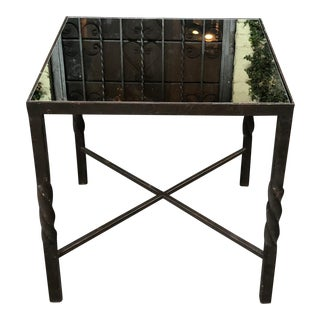 Square Art Deco Style Wrought Iron Side Table by Murray's Iron Works For Sale