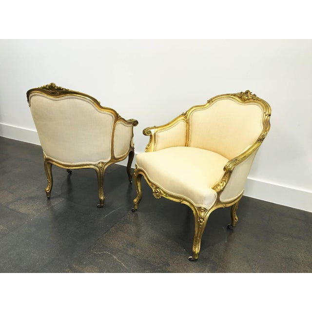 Giltwood Pair of 19th Century Louis XV Giltwood Bergères For Sale - Image 7 of 8
