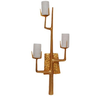 Felix Agostini Style Modernist Wall Sconce in 24k Gold Doré For Sale