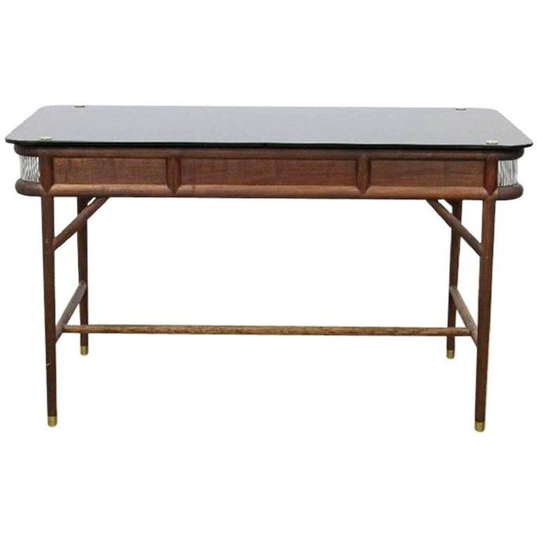 Westin Mitchell Parlor Walnut Brass And Glass Desk Chairish