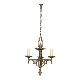 Three Light Tudor Chandelier For Sale
