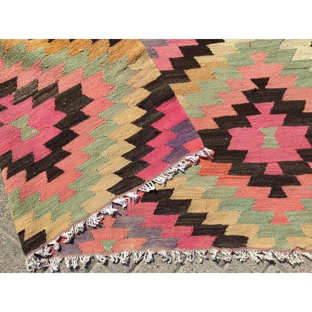 Turquoise Diamond Design Kilim Rug For Sale - Image 8 of 9