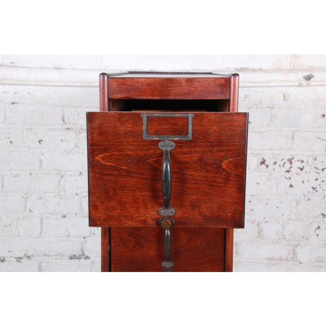 Early 20th Century Antique 5-Drawer Wood File Cabinet For Sale - Image 5 of 11