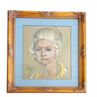Original 1979 Signed Paste Portrait of Blonde Lady With Emerald Earrings
