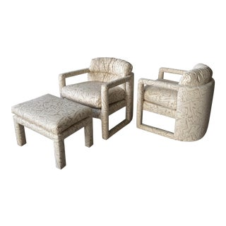 Drexel Barrel Back Parsons Chairs and Ottoman Newly Upholstered For Sale