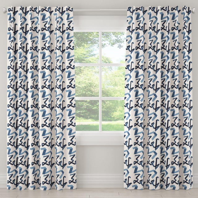 "Textile 120"" Blackout Curtain in Navy Ribbon by Angela Chrusciaki Blehm for Chairish For Sale - Image 7 of 7"