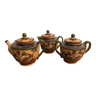 Vintage Mexican Pottery Tea Coffee Set Tlaquepaque Tonala - 3 Pc. Set For Sale