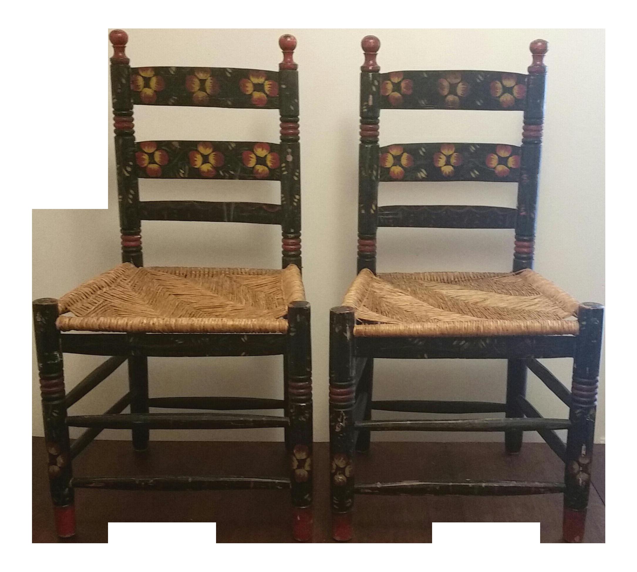 20th Century Rustic Mexican Farmhouse Chairs   A Pair