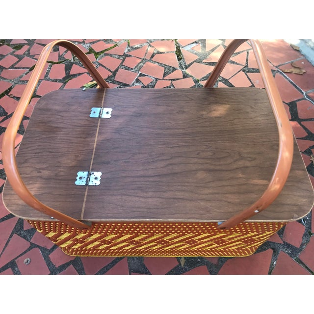 Vintage Mid Century Woven Picnic Basket For Sale - Image 4 of 6
