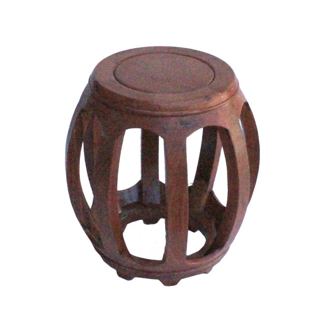 Chinese Oriental Brown Stain Wood Curved Barrel Shape Stool For Sale - Image 4 of 8