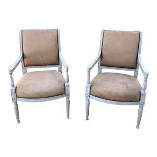Pair 19th Century French Louis XVI Painted Armchairs For Sale