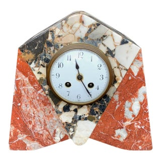 French Art Deco Marble Mantle Clock For Sale