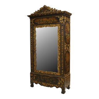 Victorian Black Lacquered Mirrored Armoire For Sale