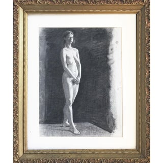 Large Charcoal Drawing of a Female Nude in 19th C Frame For Sale