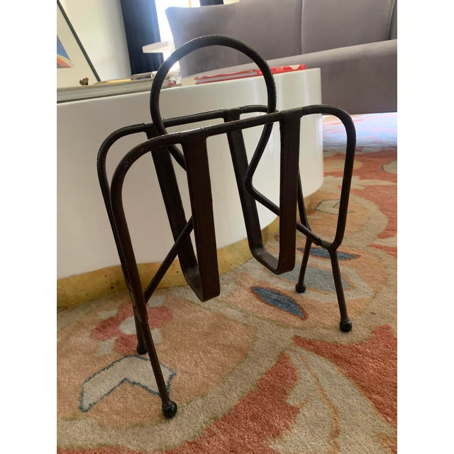 Jacques Adnet Leather Magazine Rack For Sale - Image 10 of 11