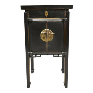 "Black Lacquer 35""h Chinese Oriental 2 Door Nightstand For Sale"